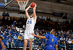 SIOUX FALLS, SD - NOVEMBER 28: Mike Daum #24 from South Dakota State University slams home two points against Jordan Giles #5 from UMKC during their game Wednesday night at Frost Arena in Brookings, SD. (Photo by Dave Eggen/Inertia)