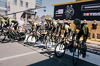 Team Mitchelton-Scott rolling off the start ramp<br /> <br /> Stage 3 (Team Time Trial): Cholet > Cholet (35km)<br /> <br /> 105th Tour de France 2018<br /> ©kramon