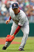 Red Sox RHP Daisuke Matsuzaka fields a ball to make a play to first for an out in the third inning against the Royals at Kauffman Stadium in Kansas City, Missouri on April 5, 2007. Boston won 4-1.
