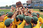 SIOUX FALLS, SD - MAY 24:  NDSU hoists the championship trophy following the Bison's 9-0 victory over Western Illinois in the 2014 Summit League Championship game Saturday at the Sioux Falls Stadium. (Photo by Dave Eggen/Inertia)