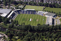 Aerial view of Swalec Stadium in Cardiff south Wales, formerly known as Sophia Gardens, home of Glamorgan Cricket Club