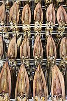 Europe/France/Normandie/Haute-Normandie/76/Seine-Maritime/ Le Tréport: Préparation  des Harengs saurs ou kippers , harengs salés puis fumés à la saurisserie Delgrove