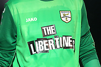 Margate shirt sponsor The Libertines during Hornchurch vs Margate, BetVictor League Premier Division Football at Hornchurch Stadium on 13th August 2019