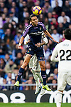 Enes Unal of Real Valladolid battles for the ball with Sergio Ramos of Real Madrid during the La Liga 2018-19 match between Real Madrid and Real Valladolid at Estadio Santiago Bernabeu on November 03 2018 in Madrid, Spain. Photo by Diego Souto / Power Sport Images