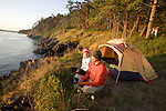 Sea kayak camping, Strawberry Island, San Juan Islands, Puget Sound, Salish Sea, Washington State, U.S.A., Washington State Department of Natural Resources, Cypress Island Natural Resources Conservation Area,