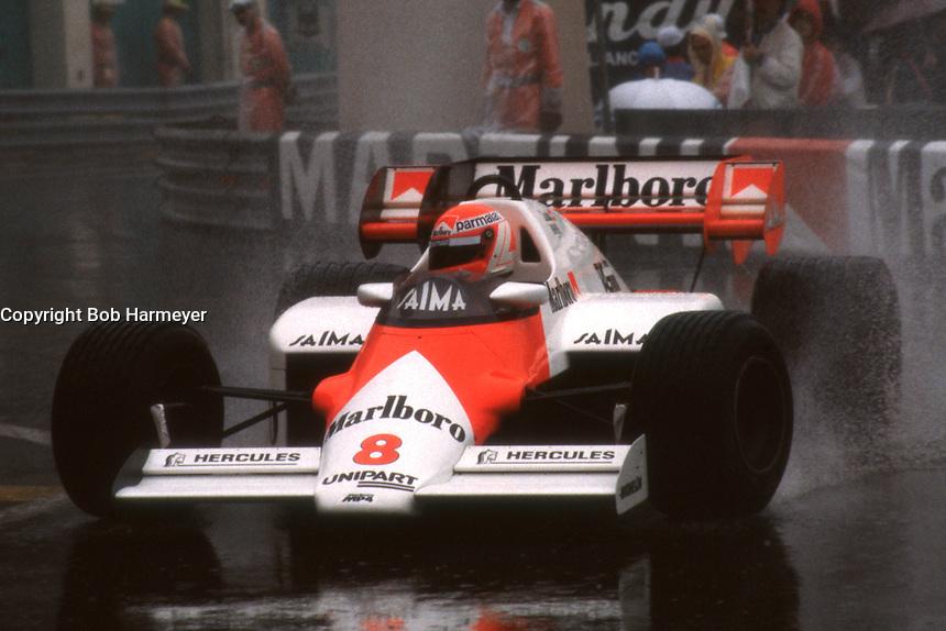 MONTE CARLO, MONACO - JUNE 3: Niki Lauda of Austria drives his McLaren MP4-2 3/TAG TTE PO1 during the Grand Prix de Monaco FIA Formula One World Championship race on the temporary Circuit de Monaco in Monte Carlo, Monaco, on June 3, 1984.