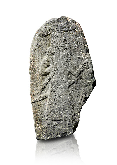 Hittite monumental relief sculpture of a God hunting, its hieroglyphic symbol is above its head. Late Hittite Period - 900-700 BC. Adana Archaeology Museum, Turkey. Against a white background