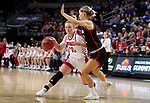 SIOUX FALLS, SD - MARCH 7: Monica Arens #11 of the South Dakota Coyotes drives against Sophie Johnston #42 of the Omaha Mavericks at the 2020 Summit League Basketball Championship in Sioux Falls, SD. (Photo by Dave Eggen/Inertia)