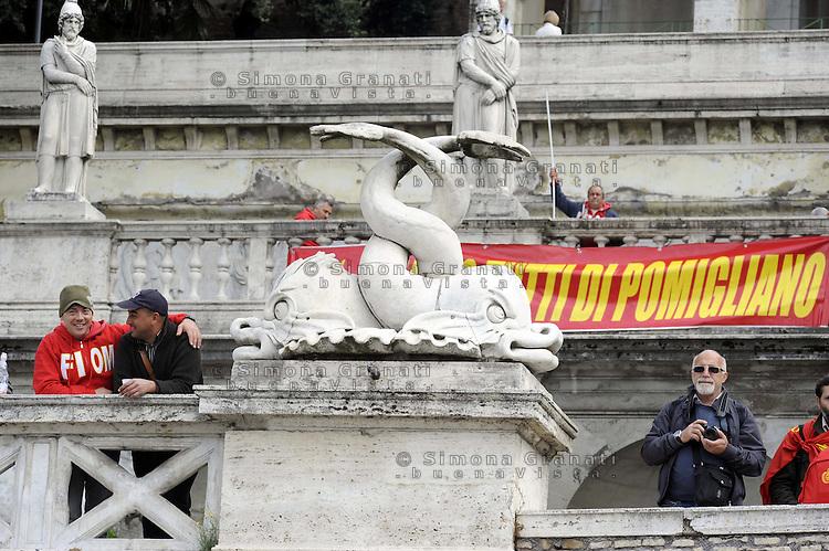 Roma, 21 Ottobre 2011.Piazza del Popolo.Manifestazione della Fiom per il Lavoro , la Democrazia , contro i Licenziamenti..Pomigliano