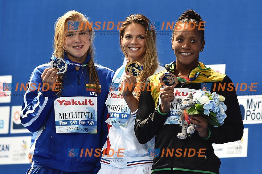 MEILUTYTE Ruta LTU Silver Medal , EFIMOVA Yuliya RUS Gold Medal, ATKINSON Alia JAM Bronze Women's 100 Breaststroke <br /> Day12 04/08/2015 Kazan Arena <br /> Swimming Nuoto <br /> XVI FINA World Championships Aquatics  <br /> Kazan Tatarstan RUS <br /> Photo Andrea Staccioli/Deepbluemedia/Insidefoto