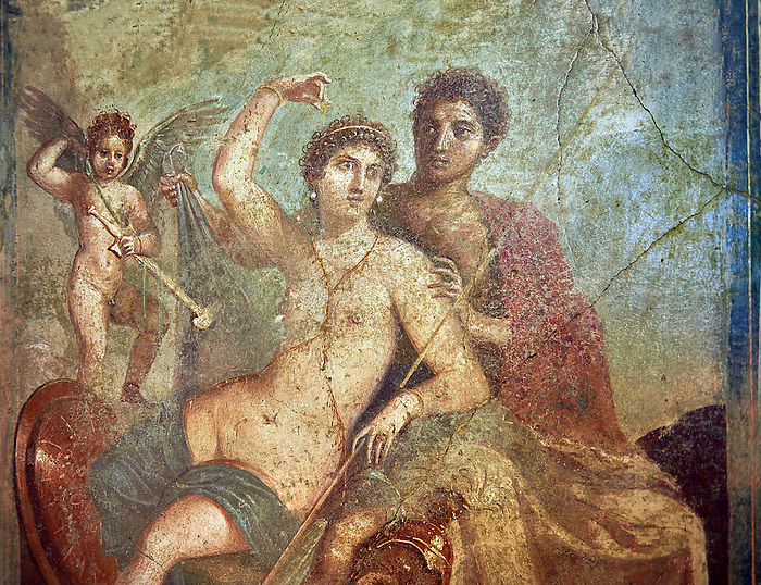 Roman fresco wall painting of the divine lovers Venus and Mars, one of the best paintings excavated from Pompeii, from the house of Venus and Mars (VII 9 47), inv 9248, Naples National Archaeological Museum
