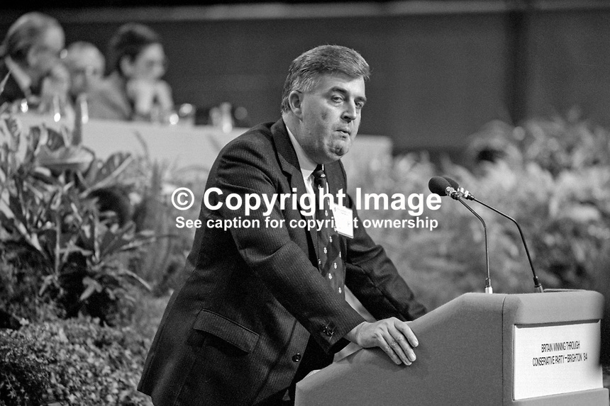 John Taylor, MP, Ulster Unionist, UK Parliament, MEP, European Parliament, assemblyman, N Ireland Assembly, addresses a session at the annual conference of the UK Conservative Party in Brighton. 19840161JT1<br /> <br /> Copyright Image from Victor Patterson, 54 Dorchester Park, Belfast, UK, BT9 6RJ<br /> <br /> t: +44 28 90661296<br /> m: +44 7802 353836<br /> vm: +44 20 88167153<br /> e1: victorpatterson@me.com<br /> e2: victorpatterson@gmail.com<br /> <br /> For my Terms and Conditions of Use go to www.victorpatterson.com