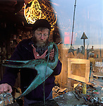 sculptor Guy Taplin in his studio on the Essex marshes