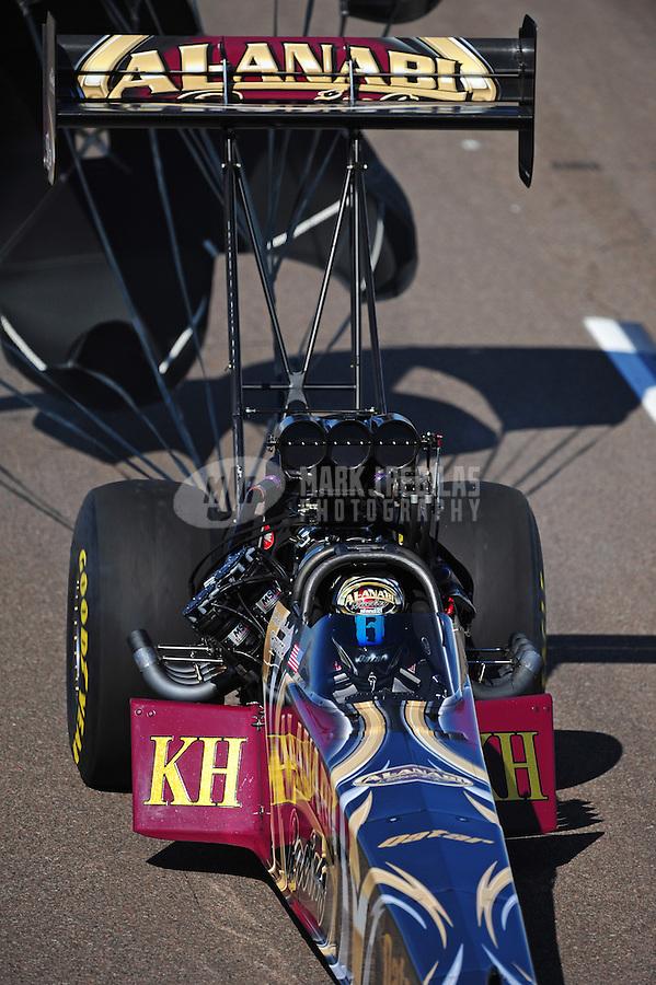 Feb. 18, 2012; Chandler, AZ, USA; NHRA top fuel dragster Khalid Albalooshi during qualifying for the Arizona Nationals at Firebird International Raceway. Mandatory Credit: Mark J. Rebilas-