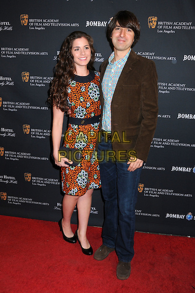 RACHAEL BEAME & DEMETRI MARTIN.17th Annual BAFTA Los Angeles Awards Season Tea Party held at the Four Seasons Hotel, Beverly Hills, California, USA, 15th January 2011..full length orange print dress brown jacket jeans  .CAP/ADM/BP.©Byron Purvis/AdMedia/Capital Pictures.