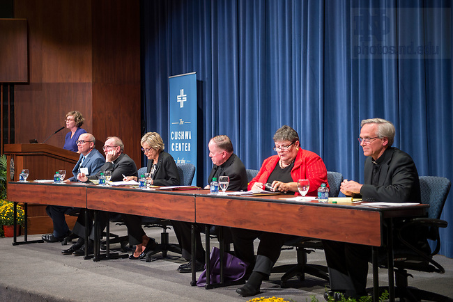 September 5, 2017; Kathleen Sprows Cummings, director of Notre Dame's Cushwa Center for the Study of American Catholicism, moderates a panel discussion on the history and impact of the Land O'Lakes charter on Catholic higher education. The panel, held in the Notre Dame Conference Center auditorium consisted of (from left to right) From left to right: John T. McGreevy, Dean of Notre Dame's College of Arts and Letters, Rev. Joseph M. McShane, S.J., president of Fordham University, Julie H. Sullivan, president of the University of St. Thomas, Rev. William P. Leahy, S.J., president of Boston College,  Patricia McGuire, president of Trinity Washington University, and Rev. John I. Jenkins, C.S.C., president of the University of Notre Dame. (Photo by Matt Cashore/University of Notre Dame)