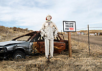 Mannequins and shot up cars line the road to the property of Mel Bernstein, aka Dragonman, at his gun store and shooting range in Colorado Springs, Colorado, Friday, February 19, 2016. Bernstein claims to be the most heavily armed man in Colorado.<br /> <br /> Photo by Matt Nager