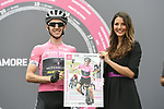 Race leader Maglia Rosa Simon Yates (GBR) Mitchelton-Scott at sign on before the start of Stage 17 of the 2018 Giro d'Italia, The Franciacorta Stage running 155km from Riva del Garda to Iseo, Italy. 23rd May 2018.<br /> Picture: LaPresse/Fabio Ferrari | Cyclefile<br /> <br /> <br /> All photos usage must carry mandatory copyright credit (&copy; Cyclefile | LaPresse/Fabio Ferrari)