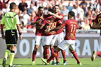 Justin Kluivert of Roma celebrates after Luca Ceppitelli of Cagliari scores an own goal on penalty<br /> Roma 06-10-2019 Stadio Olimpico <br /> Football Serie A 2019/2020 <br /> AS Roma - Cagliari <br /> Foto Antonietta Baldassarre / Insidefoto