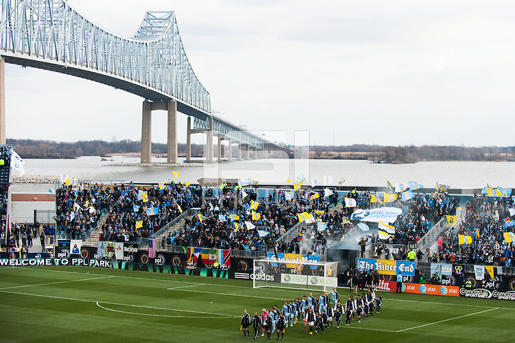 Sporting Kansas City and the Philadelphia Union enter the field prior to a Major League Soccer (MLS) match at PPL Park in Chester, PA, on March 2, 2013.