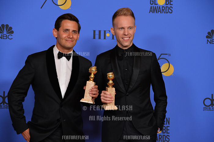Benj Pasek &amp; Justin Paul at the 75th Annual Golden Globe Awards at the Beverly Hilton Hotel, Beverly Hills, USA 07 Jan. 2018<br /> Picture: Paul Smith/Featureflash/SilverHub 0208 004 5359 sales@silverhubmedia.com