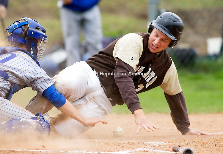 THOMASTON, CT- 12 MAY 2008- 051208JT05-<br /> Thomaston's Ben Yaffe slides safely into home as Lewis Mills catcher Scott St. Germain reaches in vain for the ball during Monday's game. The Bears won 9-6.<br /> Josalee Thrift / Republican-American