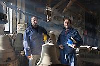 Agnone (CB): la fonderia Marinelli produce campane dal 1300 ed &egrave; la pi&ugrave; antica fonderia di campane al mondo oltre ad essere l'azienda pi&ugrave; longeva d'Europa e la terza nel mondo.<br /> Tutto viene prodotto a mano come 700 anni fa.<br /> Nel 1924 Papa Pio X confer&igrave; alla famiglia Marinelli l'onore di avvalersi dello stemma pontifico.<br /> Nella foto Pasquale (sx) e Armando (dx) Marinelli attuali titolari dell'azienda.<br /> <br /> <br /> <br /> Agnone (CB): the Marinelli foundry produces bells since 1300 and is the oldest bell foundry in the world as well as being the longest running company in Europe and the third largest in the world.<br /> Everything is made by hand just like 700 years ago.<br /> In 1924 Pope Pius X gave to the Marinelli the honor to use of the Pontifical emblem.<br /> Pasquale (left) and Armando (right) Marinelli are the actual owners of the company.