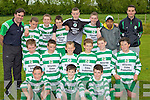 The Killarney Celtic team that beat Fenit Sapphire's in the u13 Cup final in Ballyhar on Saturday front row l-r: Paudie Clifford, Fergal Donoghue, Mike McCarthy. Middle row: Dan Donoghue, Michael Burns, Conor Randles, Shane Cronin, Donal Lyne, Liam Kearney. Back row: Paudie Griffin, Matt Keane, Brendan Lyne, Chris Donsel, Shane Ryan, Darren O'Doherty, Zaouil Hique and Chris Keane