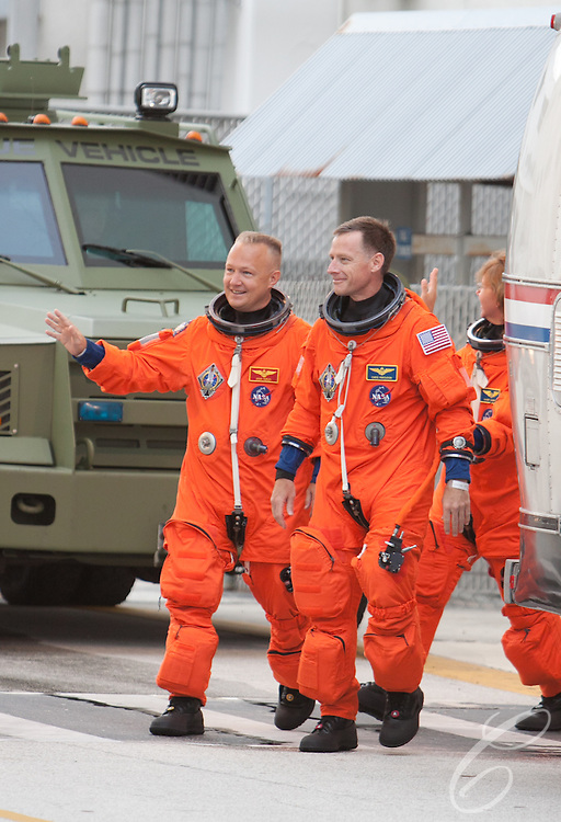 The crew of Space Shuttle Atlantis's leaves for the launch pad at Kennedy Space Center on Friday, July 8, 2011.  Atlantis' mission is the final one of the program's 30 year history.