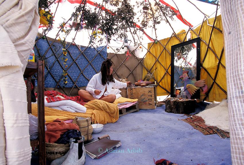 Anja in her homemade yurt,  Wandsworth Eco village.