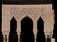 Detail of portico; Courtyard of the Lions; 1362; Second reign of Muhammad V; Nasrid Palace; The Alhambra, Granada, Andalusia, Spain Picture by Manuel Cohen