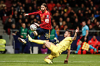 18th November 2019; Wanda Metropolitano Stadium, Madrid, Spain; European Championships 2020 Qualifier, Spain versus Romania;  Alin Tosca (Romania) slide tackles Sergio Ramos (esp) - Editorial Use