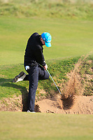 Keaton Morrison (Greenacres) with a tricky shot out of a bunker on the 10th during Round 3 of the Ulster Boys Championship at Royal Portrush Golf Club, Valley Links, Portrush, Co. Antrim on Thursday 1st Nov 2018.<br /> Picture:  Thos Caffrey / www.golffile.ie<br /> <br /> All photo usage must carry mandatory copyright credit (&copy; Golffile | Thos Caffrey)