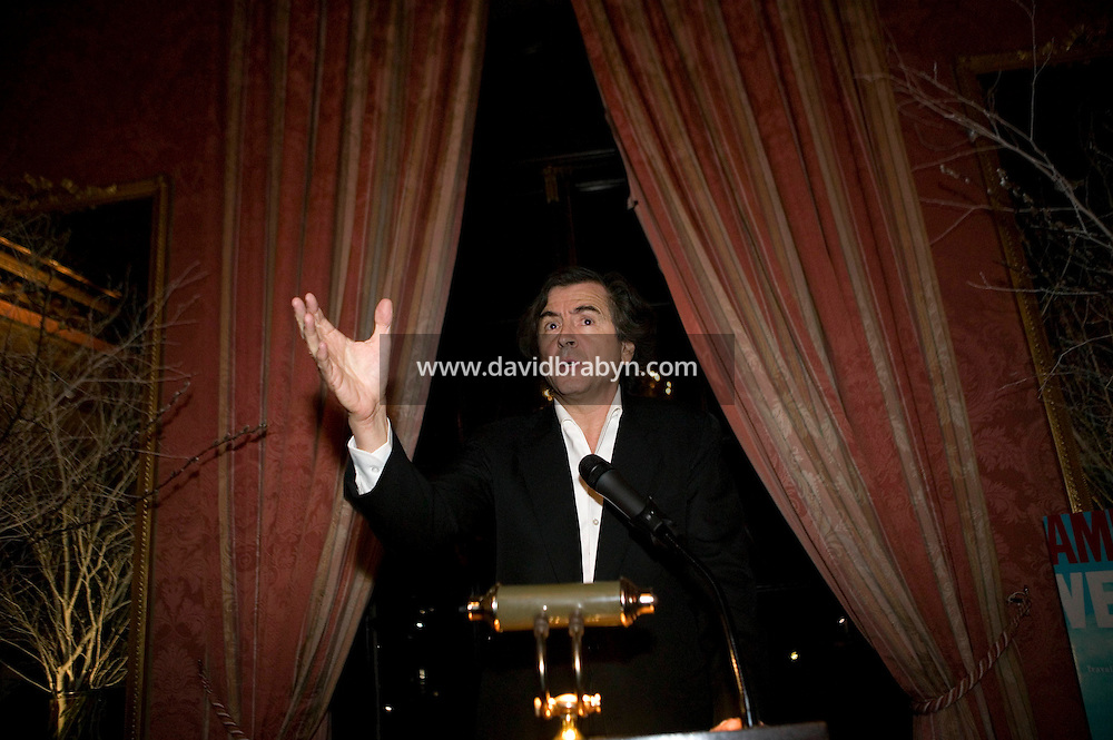 "27 January 2006 - New York City, NY - French thinker and author Bernard-Henri Levy speaks at the French consulate in New York City, USA, during a reception, 27 January 2006. Levy is in the United States to promote his new book ""American Vertigo"" in which he figuratively retraces the 1831 American journey of his countryman Alexis de Tocqueville and reflects on the state of the US."