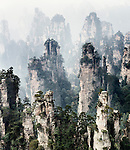 Floating mountains in fog, landscape scenery of Zhangjiajie National Forest Park, Zhangjiajie, Hunan, China