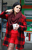 www.acepixs.com<br /> <br /> February 22 2017, New York City<br /> <br /> Actress Jaimie Alexander wears a distinctive red outfit that shows off her tattoos on the set of the TV show 'Blindspot' on February 22 2017 in New York City<br /> <br /> By Line: Zelig Shaul/ACE Pictures<br /> <br /> <br /> ACE Pictures Inc<br /> Tel: 6467670430<br /> Email: info@acepixs.com<br /> www.acepixs.com