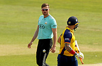 Daniel Moriarty of Surrey stares at Cameron Delport having taken his wicket during Essex Eagles vs Surrey, Vitality Blast T20 Cricket at The Cloudfm County Ground on 11th September 2020