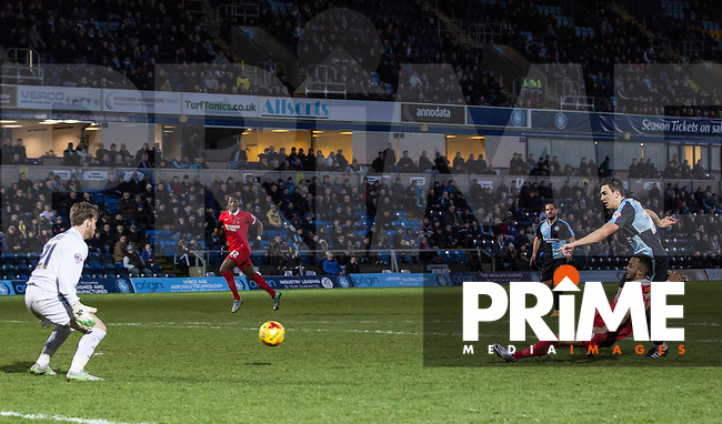 Calaum Jahraldo-Martin of Leyton Orient scores his goal during the Sky Bet League 2 match between Wycombe Wanderers and Leyton Orient at Adams Park, High Wycombe, England on 23 January 2016. Photo by Massimo Martino / PRiME Media Images.