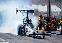 Oct 19, 2019; Ennis, TX, USA; NHRA top fuel driver Jordan Vandergriff during qualifying for the Fall Nationals at the Texas Motorplex. Mandatory Credit: Mark J. Rebilas-USA TODAY Sports