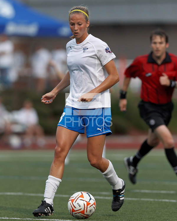Boston Breakers defender Julie King (8) brings the ball forward. In a Women's Premier Soccer League Elite (WPSL) match, the Boston Breakers defeated ASA Chesapeake Charge, 3-1, at Dilboy Stadium on July 6, 2012.
