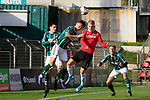 26.10.2019, Stadion Lohmühle, Luebeck, GER, Regionalliga Nord VFB Lübeck/Luebeck vs Hannover 96 II <br /> <br /> DFB REGULATIONS PROHIBIT ANY USE OF PHOTOGRAPHS AS IMAGE SEQUENCES AND/OR QUASI-VIDEO.<br /> <br /> im Bild / picture shows<br /> Zweikampf/Kopfball. Kopfballduell zwischen Dongsu Kim (VfB Luebeck) und Benjamin Hadzic (Hannover 96 II)<br /> <br /> Foto © nordphoto / Tauchnitz