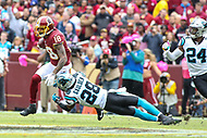 Landover, MD - October 14, 2018: Washington Redskins wide receiver Josh Doctson (18) catches a pass during the  game between Carolina Panthers and Washington Redskins at FedEx Field in Landover, MD.   (Photo by Elliott Brown/Media Images International)