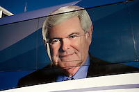 A portrait of Newt Gingrich decorates his campaign bus while parked at BAE Systems, a major defense contractor, for a campaign event in Nashua, New Hampshire, on Jan. 9, 2012.  Gingrich is seeking the 2012 Republican presidential nomination.