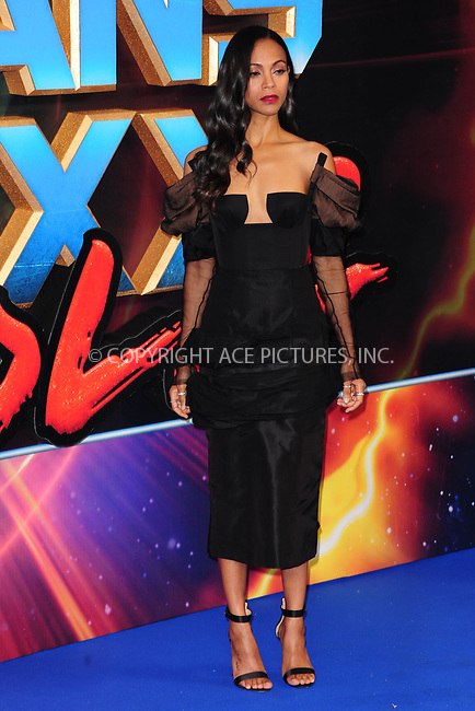 www.acepixs.com<br /> <br /> April 24 2017, New York City<br /> <br /> Zoe Saldana arriving at the European Gala screening of 'Guardians of the Galaxy Vol. 2' at the Hammersmith Apollo on April 24, 2017 in London<br /> <br /> By Line: Famous/ACE Pictures<br /> <br /> <br /> ACE Pictures Inc<br /> Tel: 6467670430<br /> Email: info@acepixs.com<br /> www.acepixs.com