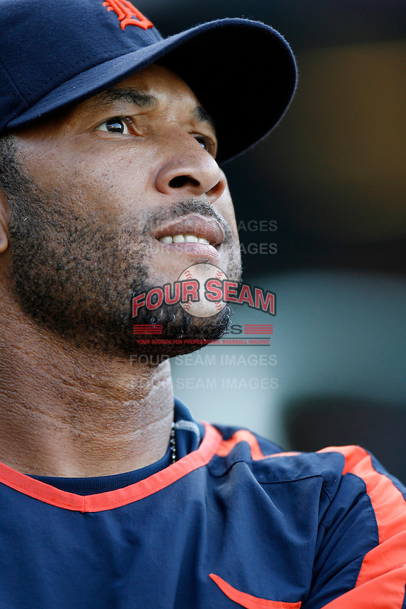 Gary Sheffield of the Detroit Tigers during batting practice before a game against the Los Angeles Angels in a 2007 MLB season game at Angel Stadium in Anaheim, California. (Larry Goren/Four Seam Images)