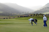 Thomas Bjorn (EUR) on the 3rd green during the Saturday Fourball Matches of the Ryder Cup at Gleneagles Golf Club on Saturday 27th September 2014.<br /> Picture:  Thos Caffrey / www.golffile.ie