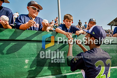 16 July 2017: Vermont Lake Monsters pitcher Parker Dunshee, a 7th round draft pick for the Oakland Athletics, signs some autographs prior to a game against the Auburn Doubledays at Centennial Field in Burlington, Vermont. The Monsters defeated the Doubledays 6-3 in NY Penn League action. Mandatory Credit: Ed Wolfstein Photo *** RAW (NEF) Image File Available ***