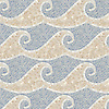 Jordan, a hand-cut stone mosaic, shown in tumbled Breccia Oniciata, Calacatta Tia, and Blue Macauba.