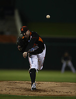 David Holmberg pitcher inicial de los naranjeros, durante el juego de beisbol de segunda vuelta de la Liga Mexicana del Pacifico. Segundo partido entre Charros de Jalisco vs Naranjeros de Hermosillo. 16 Diciembre 2017.<br /> (Foto: Luis Gutierrez /NortePhoto.com)