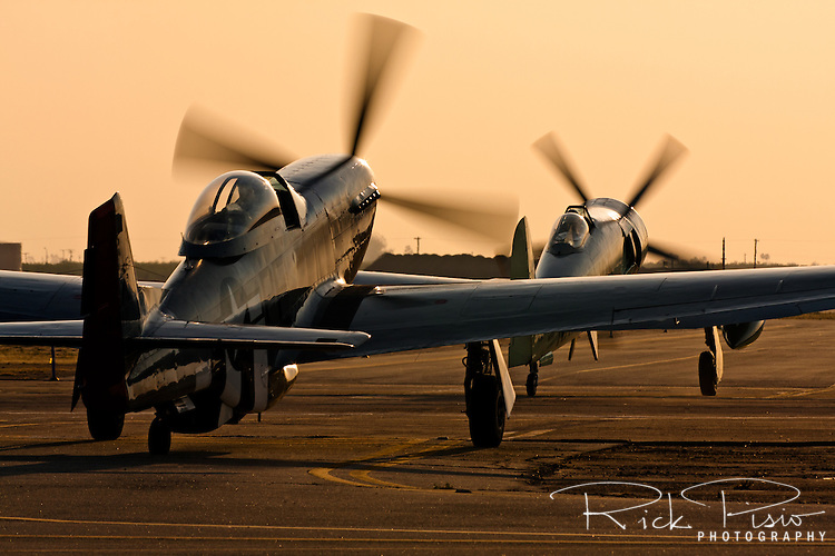 A pair of warbirds taxi into the sun prior to departure from Minter Field following the 2008 Warbirds in Action air show near Bakersfield, California. The British built Hawker Sea Fury is followed by a North American P-51 Mustang. Photographed 04/08